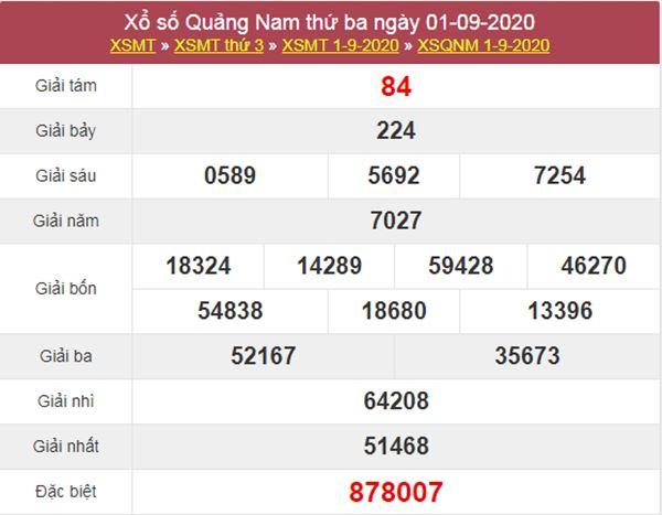 Soi cầu XSQNM 8/9/2020 chốt lô số đẹp Quảng Nam thứ 3